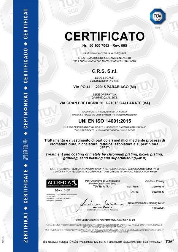 Certificazione - cromatura dura